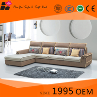 Simple wooden fabric corner modern sleeper sofa set design with chaise lounge