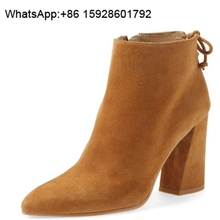 Sheepskin boots Ankle back strap Pointed toe thick heel leather boots women Large size OCA49