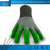 Light Duty Cut Resistant Green Sandy Nitrile Palm Coated Work Gloves With HPPE