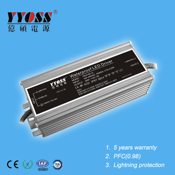 No pulsation PFC(0.95) EMC waterproof constant voltage 60w 12v 500ma led driver with 5 years warranty