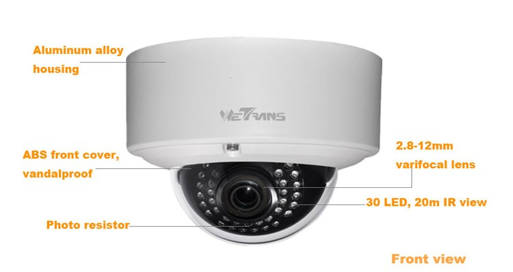 Outdoor IP Camera 5MP TR-IP50AD128 all connectors insidethe camera 5MP vandal-proof and water-proof Dome IP camera