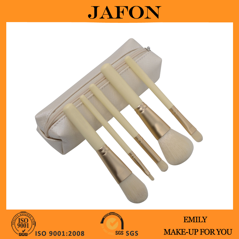 Beige color small 5 pcs cosmetic brush makeup kit for kids/children