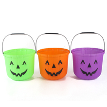 New Plastic Halloween Pumpkin Party Candy Buckets Decor Prop