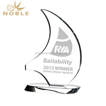 Wholesale Engraved Logo Crystal Sailboat Sports Trophy Award