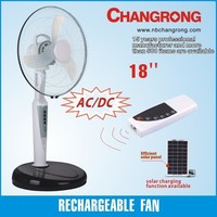 "CR-8618 18"" rechargeable battery solar standing floor fan"