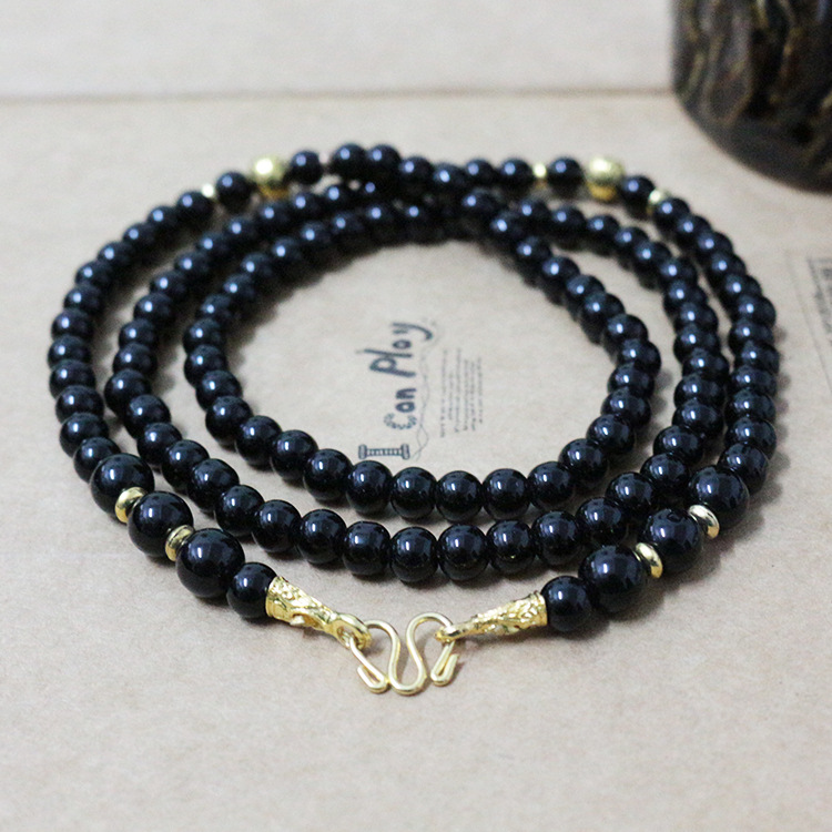 Thai buddhist fashion black agate necklace