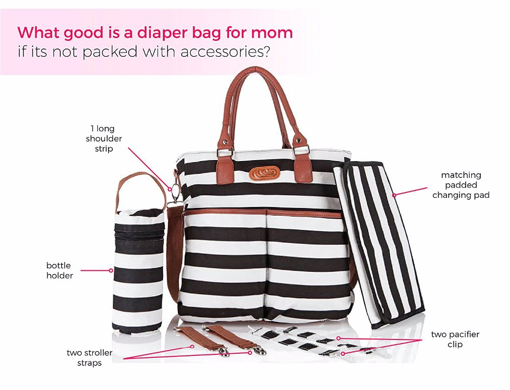 Stylish Baby Diaper Bag - Cotton Messenger Organizer Tote - Change Pad