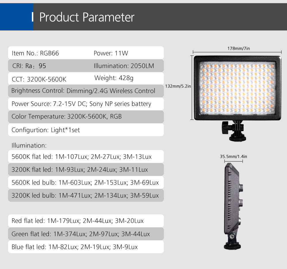 NanGuang RGB66 Photo Light with Full Color RGB LED Light Dimmable Bi-color 3200K to 5600K