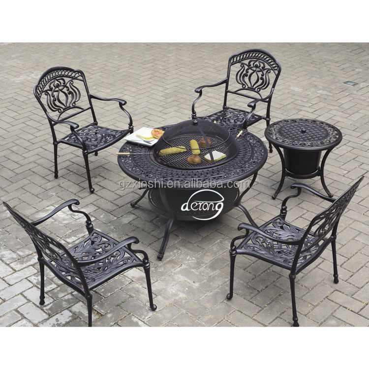 classic garden home family barbecue set cast aluminum cast table with grill and chair