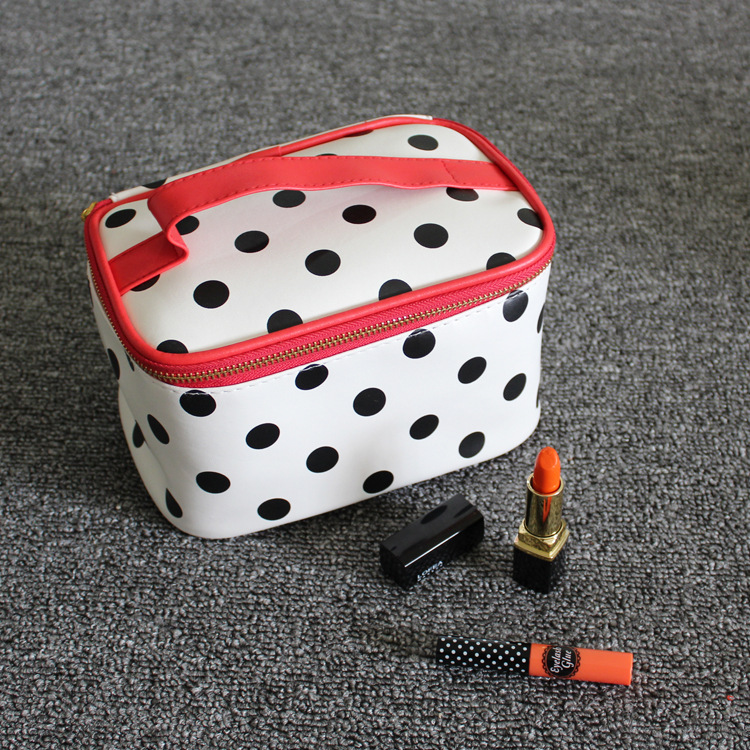 Big Capacity OEM PU Leather Make Up Bag A Set Cosmetic Bag round Shape Bag