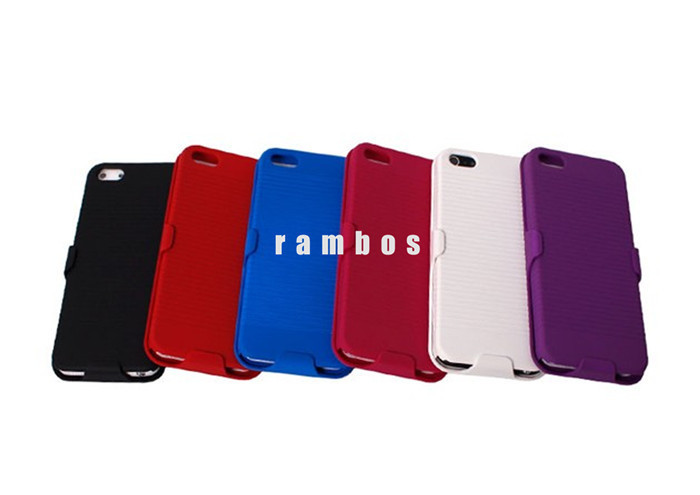 Two Layer Silicon Plastic Kickstand Flip Cover Cases for iPhone 4 4S with Belt Clip Design