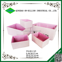 Set of 5 pink fabric storage basket