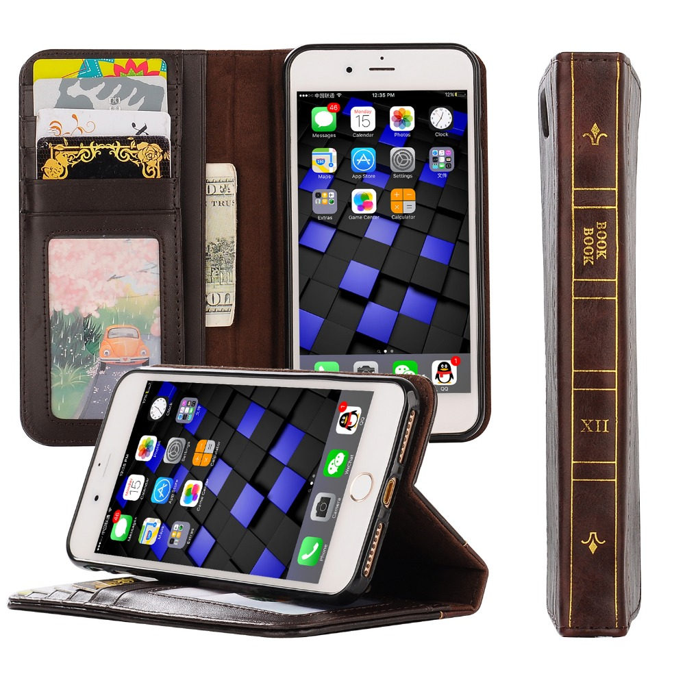 2 in 1 Luxury Mobile Phone Kick Stand Case for iPhone 7 Wallet Leather Case with Card Holder