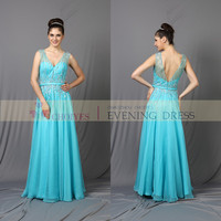Elegant Light Blue Long Gown Formal Party wedding Bridesmaid Dresses of Women