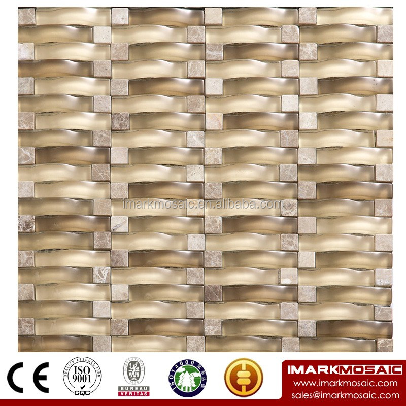 IMARK Mixed Color Wavy Shape Crystal Glass Mosaic Tiles Mix Marble Mosaic Tiles for Wall Decoration Code IXGM8-127