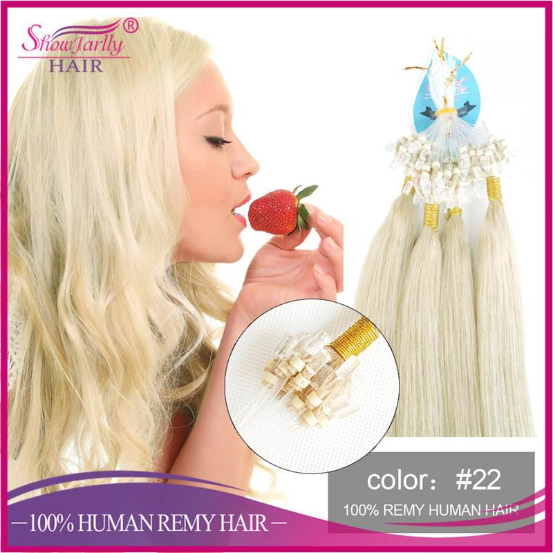 New arrival micro loop body wave fusion human hair extensions white hair extension micro ring light blonde