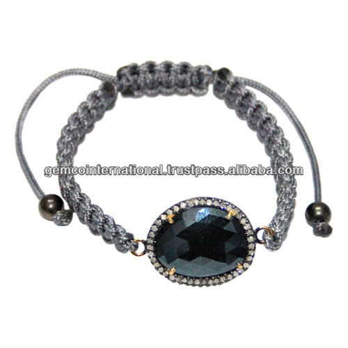 Diamond Black Spinel Connector Jewelry Gemstone Macrame Bracelet