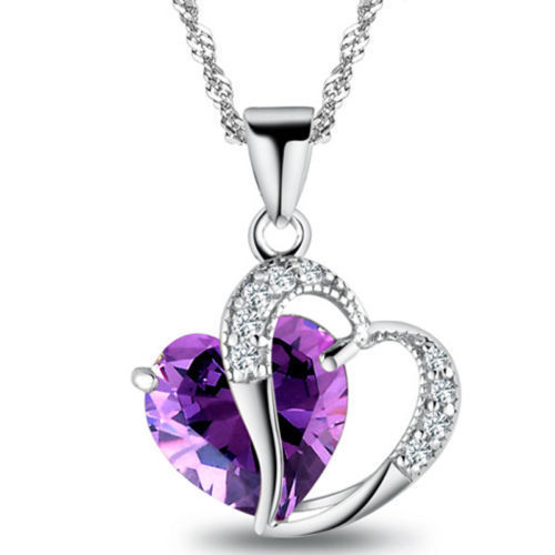 1 PC 9 Colors Top Fashion Class Women Girls Lady Heart Crystal Amethyst Maxi Statement Pendant Necklace NEW Jewelry