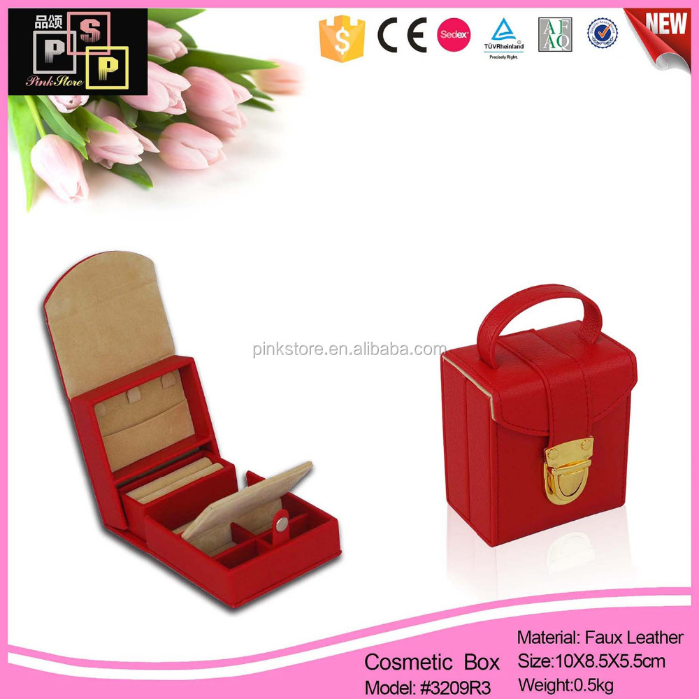 2016 ISO audited factory pu leather door jewelry box with clock and music melody