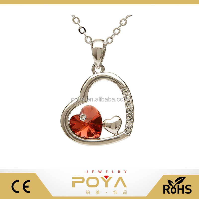 POYA Jewelry Stainless Steel Crystal and Red Ruby Triple Heart Pendant Necklace