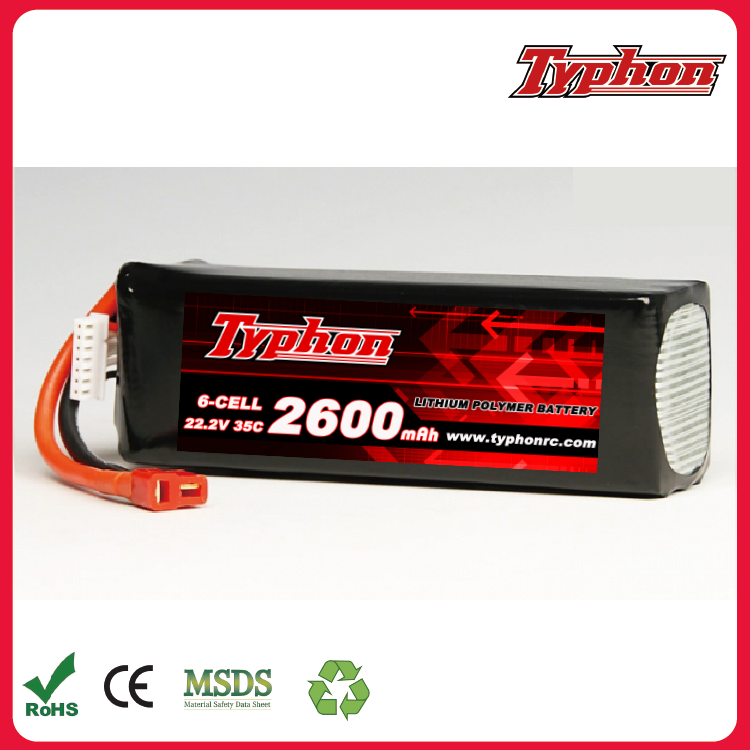 High rate rc Polymer lithium 2600mAh 22.2V 6S 35C LiPo Battery for rc plane rc helicopter