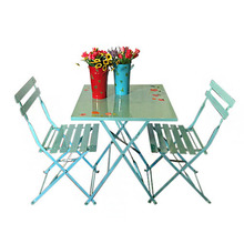 Metal Folding Simple Design Printing Iron Outdoor Table and Chair Suit
