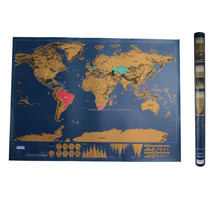 Deluxe Edition World Map with Gold Foil for Home Decoration