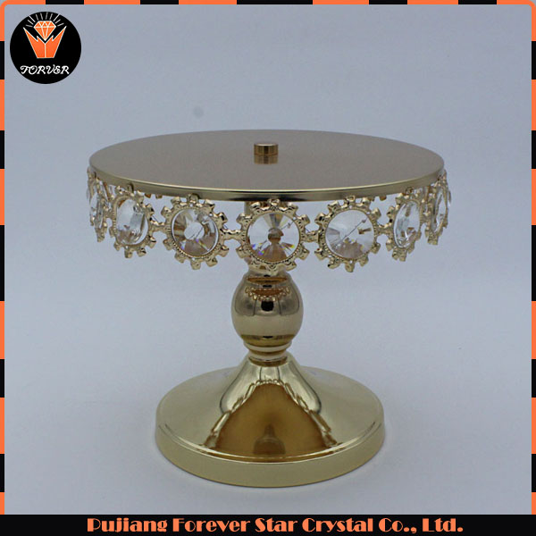 crystal wedding round metal carriage cake stand for table decoration