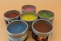 China candle factory wholesale scented private label soy candle in tin jar