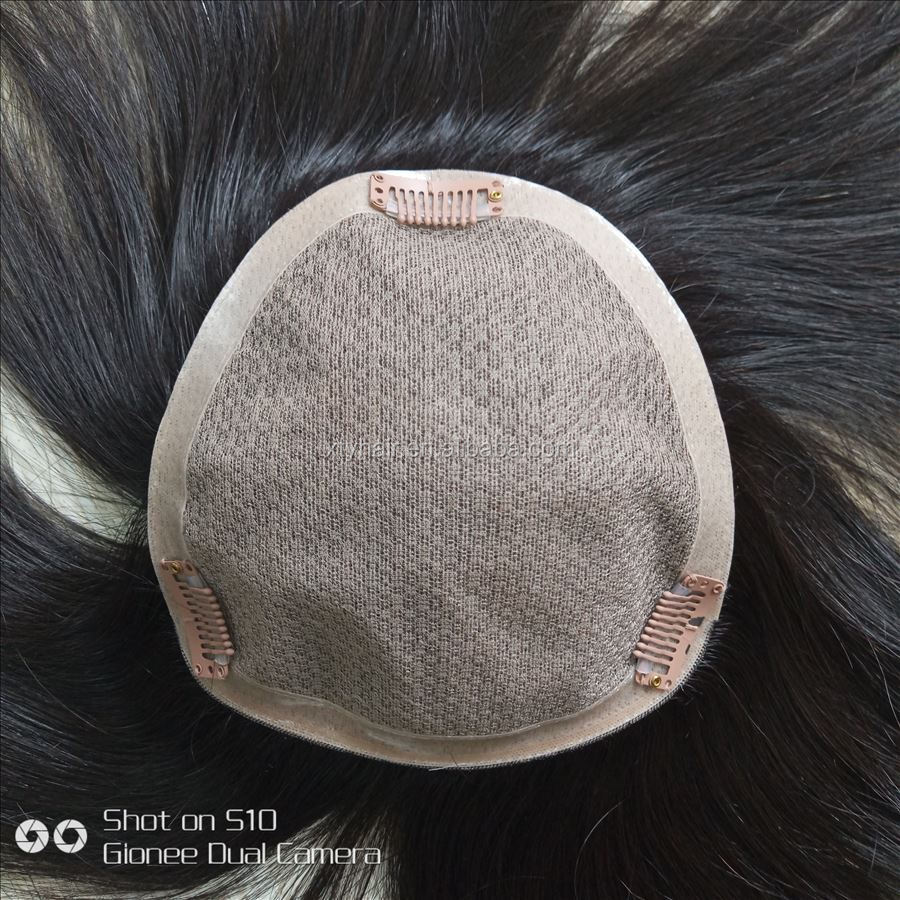 very natural clip in human hair topper wig for men
