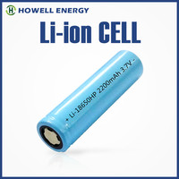 lithium ion battery/ 3.7v 18650 li-ion 2200mah cylindrical battery/howell energy 18650 battery
