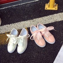 Bowknot Design Shoelaces Women White Shoes Popular Design Shoes