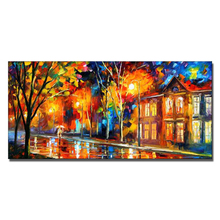100% Handmade Colorful Abstract Rain Street Canvas Art Knife Picture
