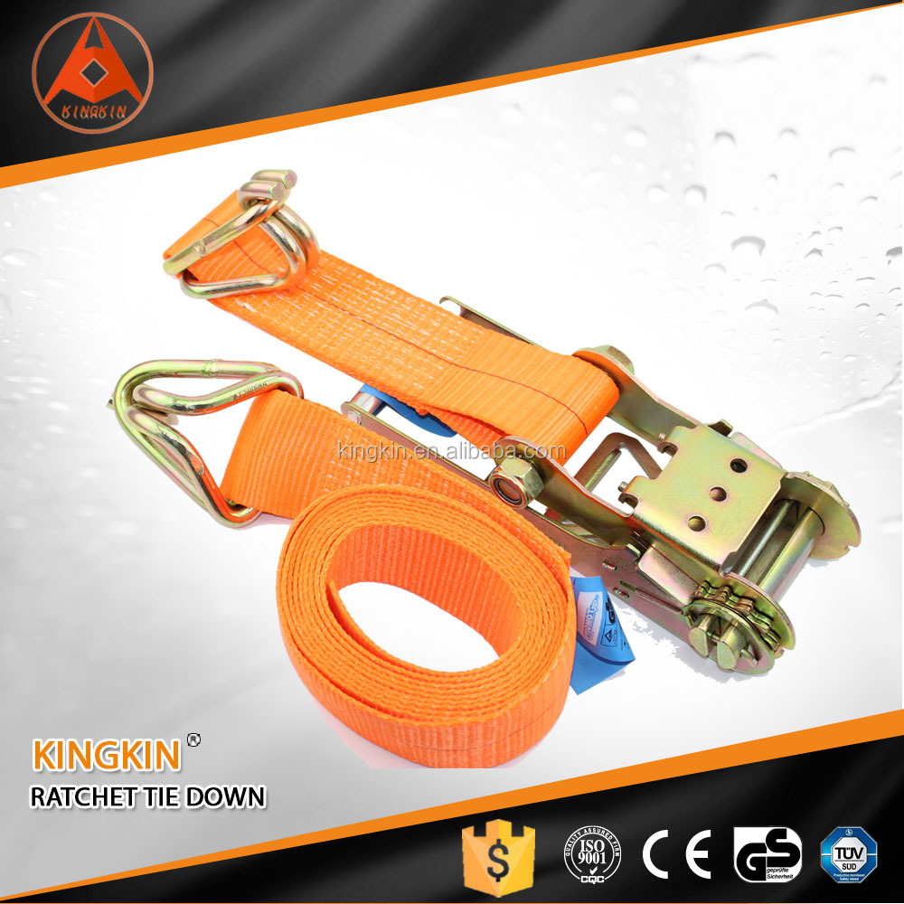 double J hook custom weight lifting belts/ ratchet strap tensioner/ lashing strap with GS, CE, ISO Certificate