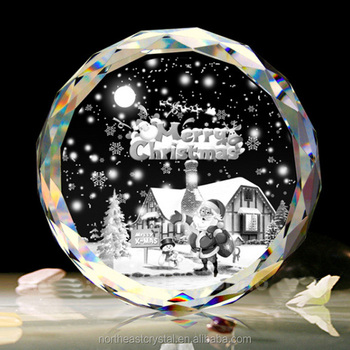 2017New Design Home Decoration 3D Laser Engraved Crystal Christmas Ornaments Glass