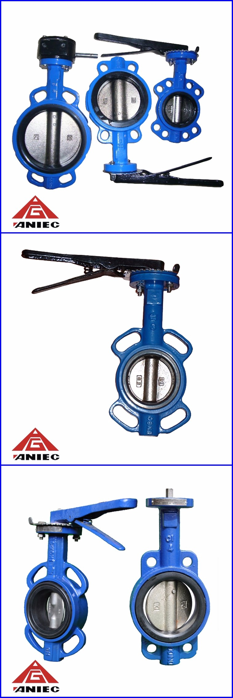 Cast iron lever handle operated wafer end type manual butterfly valve