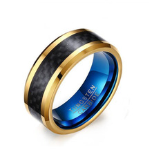 Blue Color Plated Mens Carbon Fiber Tungsten Ring Wedding Engagement Ring, Tungsten Carbide Ring