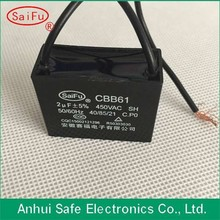 2uf 450vac high quality black plastic Square cbb61 capacitor