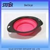 Black edging Foldable Silicone pet dog bowl Printing logo with Carabiner hook
