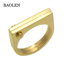 Fashion Flat Shackle Tag Punk Screw Finger Rose Gold Color Rings For Women Titanium Steel Ring Jewelry Wholesale