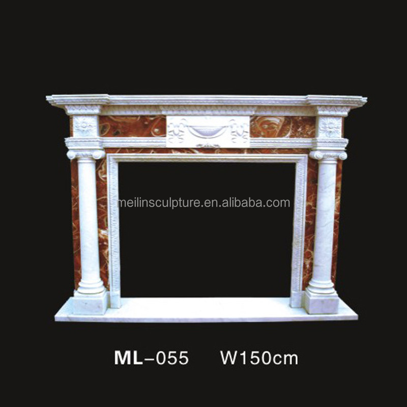 Hand carved indoor natural white marble gas fireplace mantel with small flower