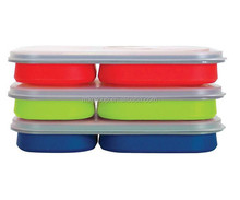 Wholesale manufacturer FDA LFGB collapsible lunch box silicone lunch case