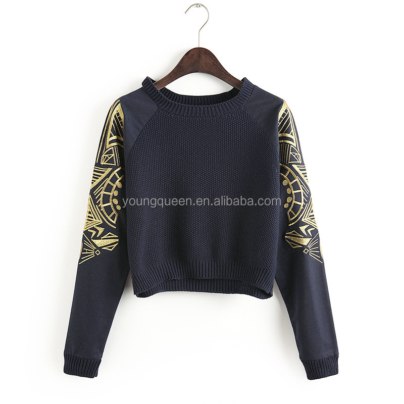 BS07 new fashion embroidery wool sweater design for girl short slim