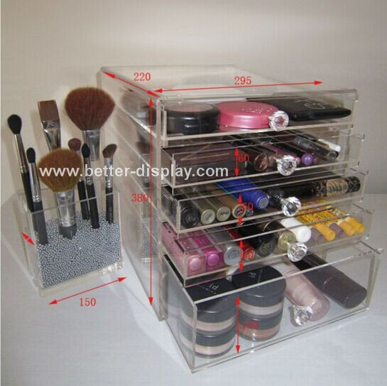 custom clear plastic plexiglass 5 tier acrylic makeup organizer