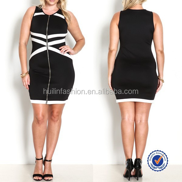 chinese clothing manufacturers sleeveless balck and white plus size bandage dress size xl