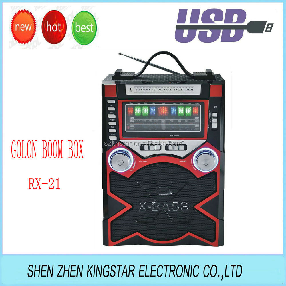 golon rx-21 x-bass boom box usb/sd player