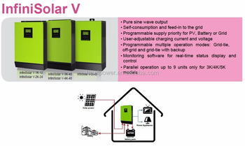 DC to AC 48Vdc 3000w hybrid on off grid solar system
