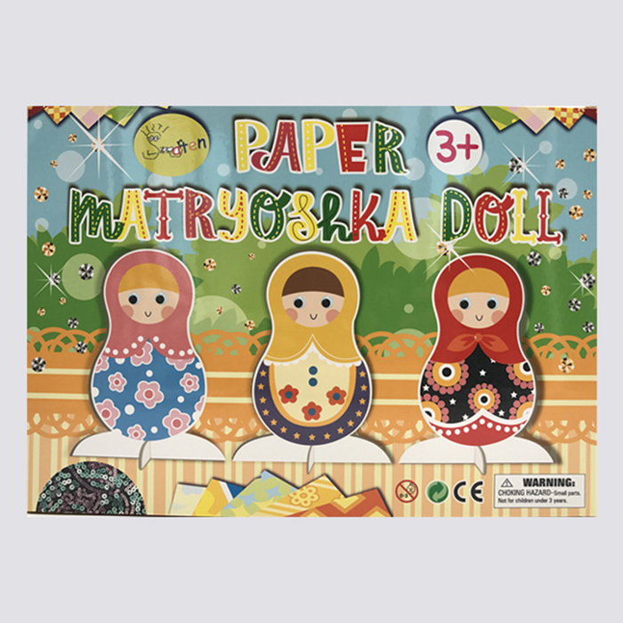 craft paper matryoshka doll design, DIY easy paper craft for kids