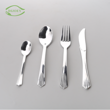Smart design spanish travel pizza wholesale cheap golden yogurt serving dessert fork cutlery disposable plastic spoon and knife