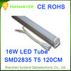 Patent design 1600lm 50,000Hours 88pcs SMD2835 1200MM 16W led tube t5 180mm